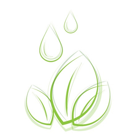 Outlined eco plant with drops Vector
