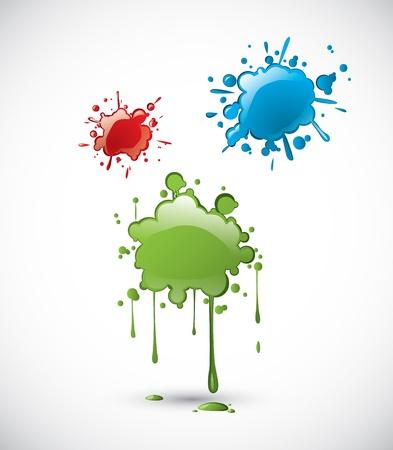 Coloured paint splatters Stock Vector - 21399551