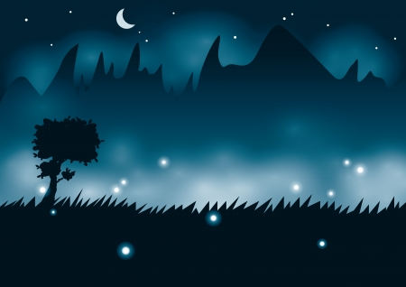 fireflies: Summer night with fireflies Illustration