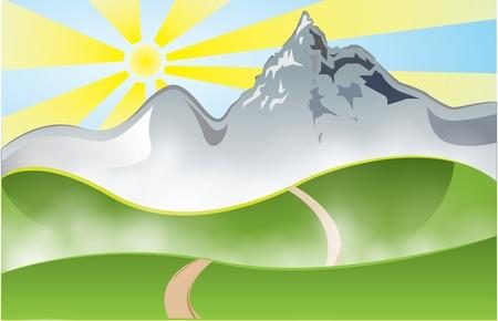 hilly: Mountain mist on sunset
