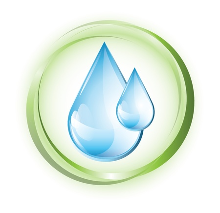 녹색 동그라미에 푸른 물방울 일러스트