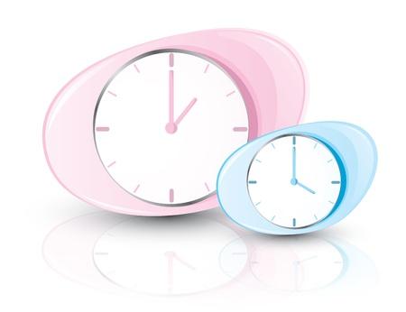 oclock: Pink and blue clocks