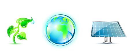 environmentally: Eco icons set Illustration