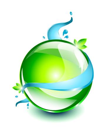 녹색 유리 공 일러스트