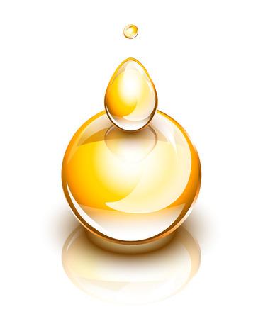 Les gouttes d'huile jaune