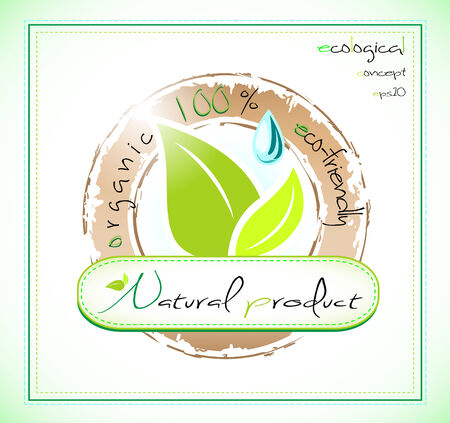 Natural product label with leaves and droplet Vector