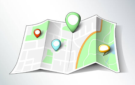 Cartoon like map with map pins Vector