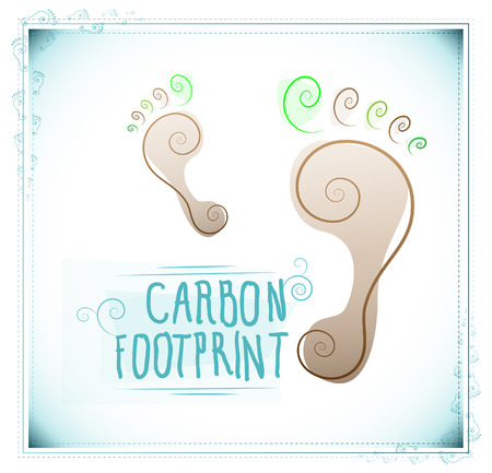 carbon footprint: Floral carbon footprint Illustration