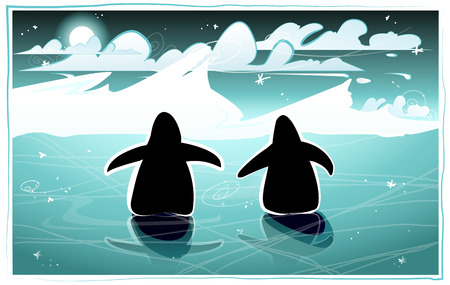 Penguins in an arctic night