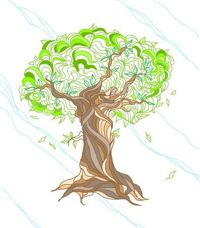손으로 그린 양식에 일치시키는 나무