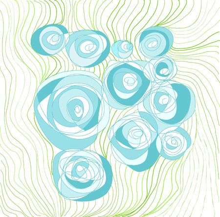 Hand drawn stylized blue roses