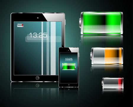태블릿, 휴대 전화 및 배터리 일러스트