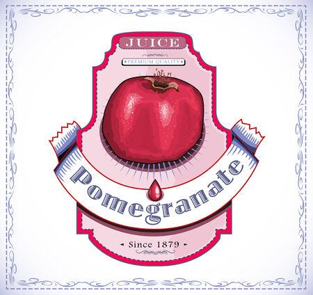 Ripe pomegranate juice product label