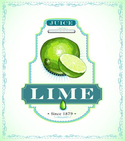 Lime juice product label Illustration