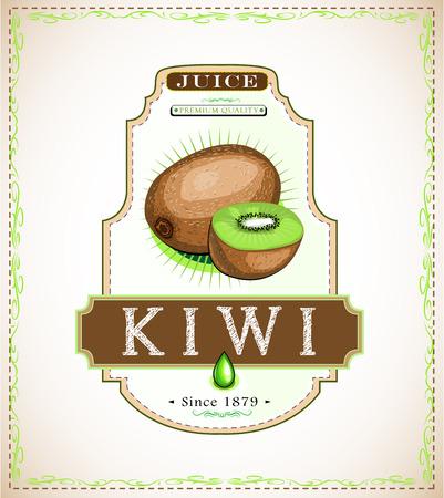 Kiwi juice product label Illustration