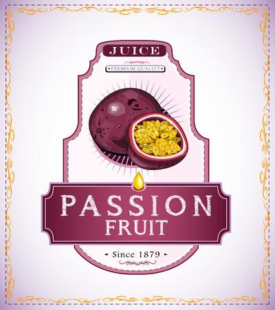 열정 과일 주스 또는 식품 제품 라벨