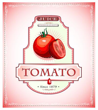 잘 익은 토마토 주스 또는 식품 제품 라벨 또는 상징
