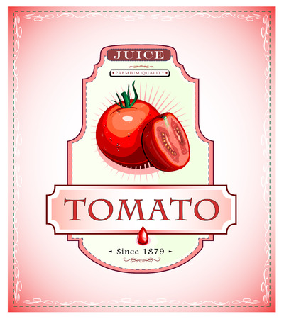 Ripe tomato juice or food product label or emblem Vector