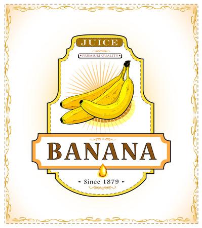 주스 또는 식품 라벨에 세 잘 익은 바나나