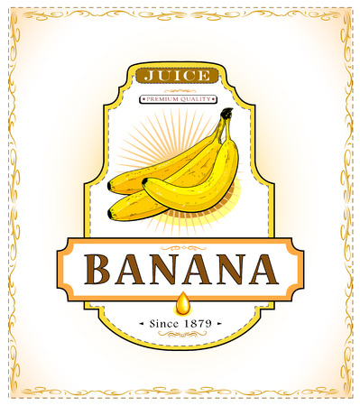 Three ripe bananas on a juice or food product label
