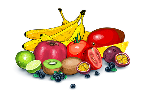 Lots of ripe exotic fruits together Vector