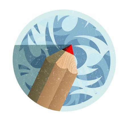 Vintage retro pencil icon Illustration