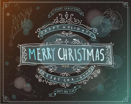 빈티지 메리 크리스마스 레이블 또는 상징