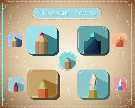 Set of vintage retro icons for drawing and writing