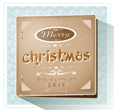 Vintage retro Christmas and New year 2015 card Illustration