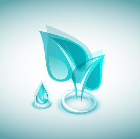나뭇잎과 물방울과 푸른 생태 아이콘