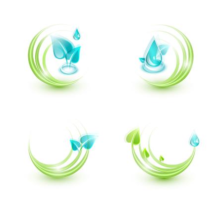 나뭇잎과 물방울로 만든 네 개의 생태 아이콘의 집합