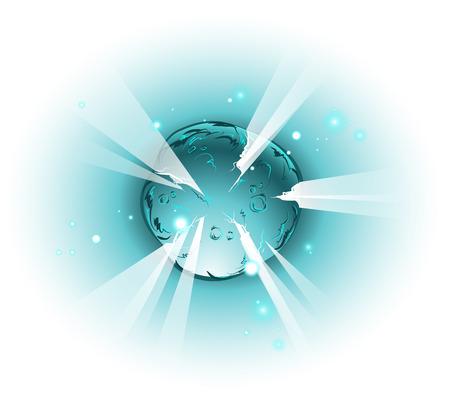 우주, 만화 스타일의 폭발하는 별 또는 행성 일러스트