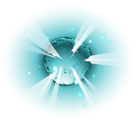 Bursting star or planet in space, cartoon style Illustration