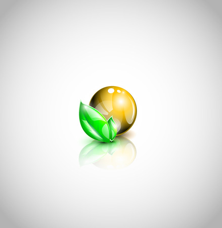 Golden colored oil droplet with green leaves