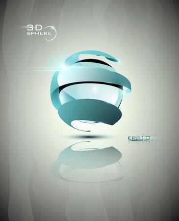 소용돌이와 광택 3D 밝은 파란색 미래의 구 아이콘