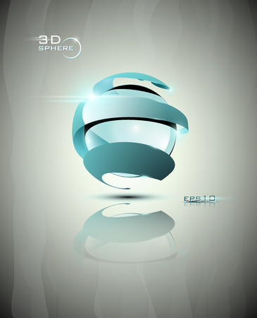 Glossy 3D light blue futuristic sphere icon with swirls