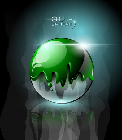 Green glossy sphere with sparkles in dark background Illustration