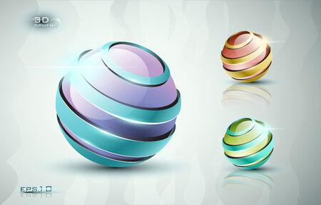 다른 색상으로 3D 구 아이콘