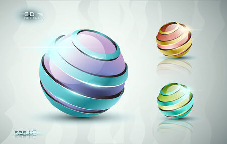 web elements: 3d sphere icons with different colors