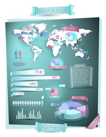 차트, 파이, 그래프 및 3D 요소와 세계지도 인포 그래픽 일러스트