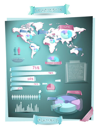 World map infographics with charts, pies, graphs and 3d elements