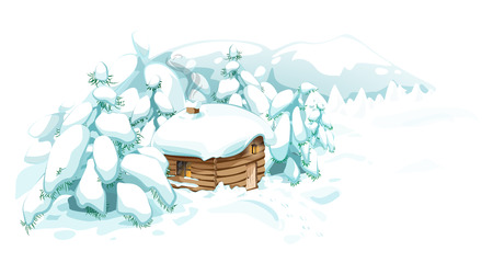 snow track: House in the winter, among trees and forest