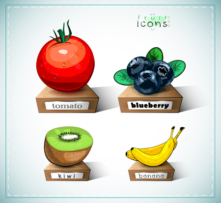 Fruit icons on wooden plates