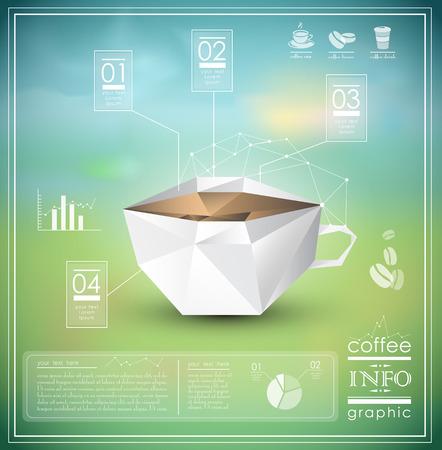 커피 정보 그래픽 요소와 디자인 일러스트
