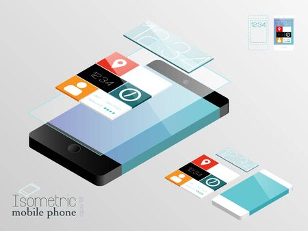 touch screen interface: Isometric mobile phones named layers Illustration