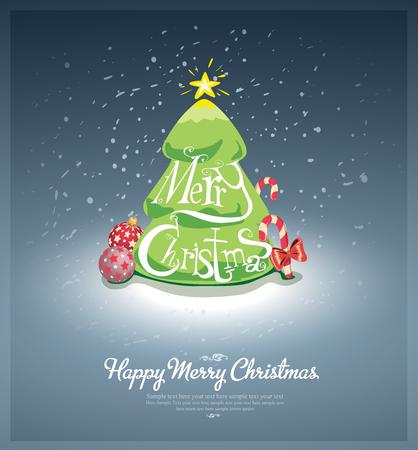 사용자 지정 글꼴 메리 크리스마스 엽서 일러스트