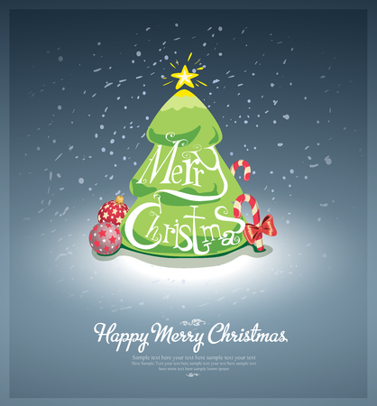 Merry Christmas post card with custom font