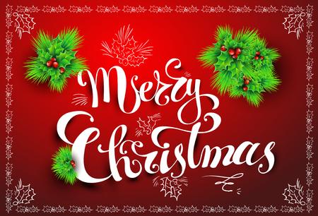 merry christmas post card vector illustration hand written font eps 10 stock
