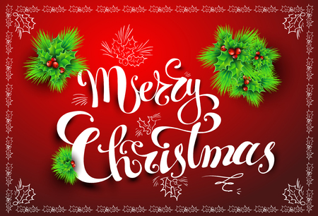 Merry Christmas post card, Vector illustration, hand-written font, EPS 10