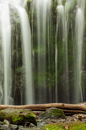 Beautiful view of the taiga waterfall with a log and stones in the foreground, background of washed-out water.